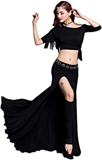 Dance Zone レディース ベリーダンス トップス Tシャツ スカート 五分袖 リボン フリンジ ロング ハイスリット 無地 ワンショルダー 二種類 セットアップ セクシー 華やか レッスン ステージ 舞台 ダンス衣装 発表会
