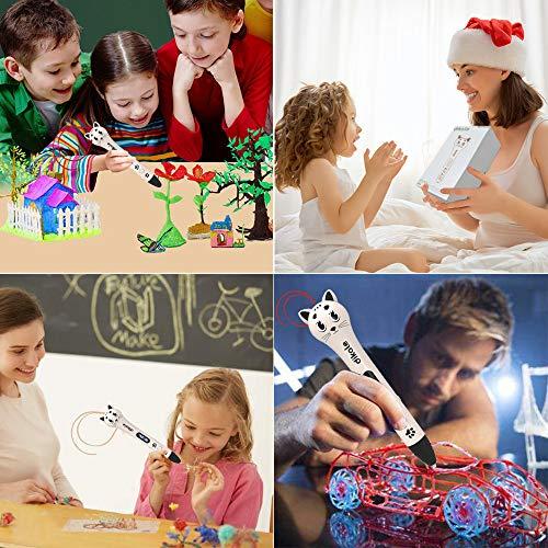 3D Stift Set für Kinder, 3D Stifte mit OLED Display, 2 x 7.5M PLA Filament + 20 Seiten Schablonen für Kritzelei, Basteln, Zeichnung, Kunstwerk, einzigartige Geburtstags-und Weihnachtsgeschenke für Kinder und Erwachsene (Ein-Tasten-Bedienung) - 2