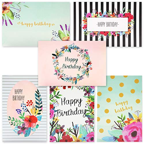 Juvale 48-Pack Bulk Happy Birthday Cards Box Set - 6 Unique Assorted Watercolor Floral Designs, Blank Inside with Envelopes Included, 4 x 6 Inches