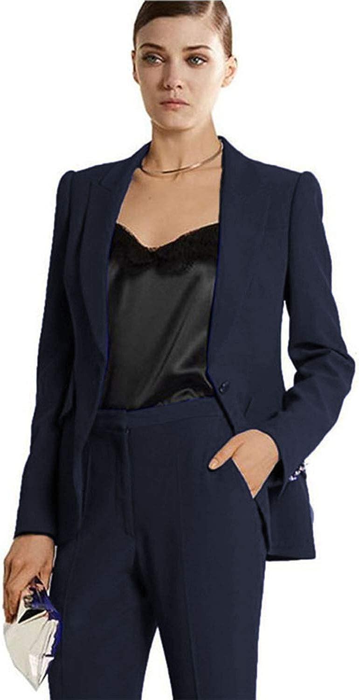Lilis Women's 2 Piece Slim Suits Set for Business Office Lady Blazer Jacket Pants