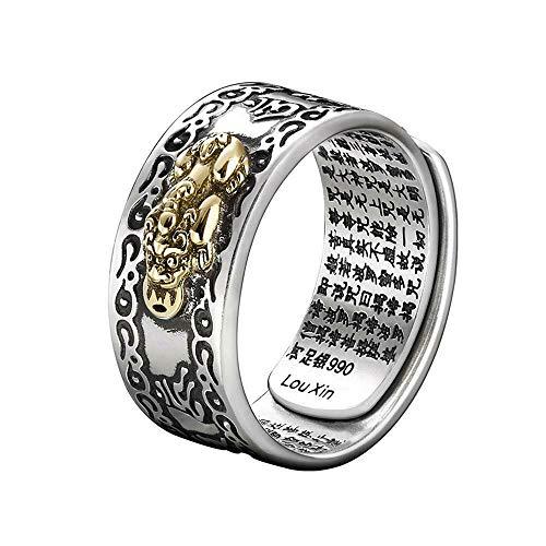 ZYANUGR Feng Shui Pixiu Mani Mantra Protection Wealth Ring Jewelry, Hombres Mujeres Amuleto Lucky Ring Pulido Grabado Grabado Budista Personaje joyería Ajustable Anillo (Macho)