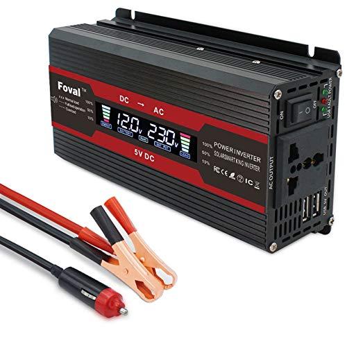 Inversor de corriente del coche LCD Puro Sine Wave Inverter Peak Smart Car Inverter 3000W 1500W 2000W 2600W 12V / 24V a 110V220V Convertidor de potencia de carga USB 1500W