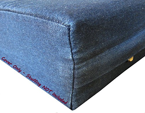 Dogbed4less DIY Durable Blue Denim Pet Bed External Duvet Cover and Waterproof Internal Case for 47'X29'X4' Extra Large Dog Bed - Replacement Covers only