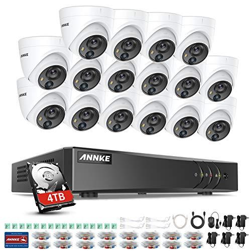 ANNKE Überwachungskamera Set System CCTV Videoüberwachung 16-Kanal 5MP Lite H.265+ DVR Rekorder mit 16 x 1080P PIR IP67 Dome Überwachungskamera für Innen/Außen,30m IR Nachtsicht,APP Alarm(4TB HDD)