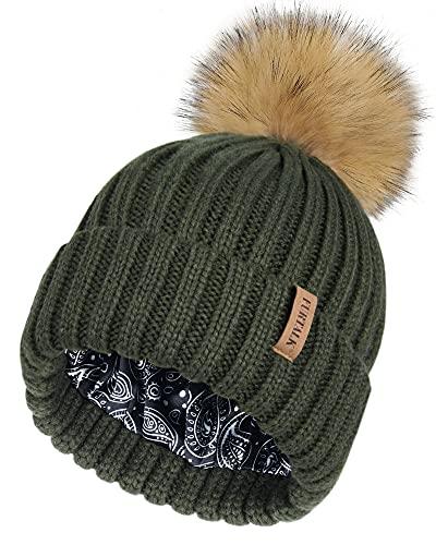FURTALK Gorro de mujer con forro de satén para el pelo, gorro de invierno con pompón de pelo sintético, verde, Talla única