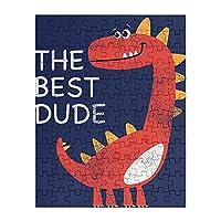 108ピース ジグソーパズル 赤い恐竜 the best dude 木製パズル 子供の知育玩具 親子お楽しみ (18x23cm)