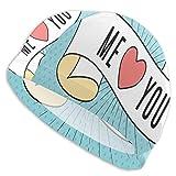 Gebrb Bonnet de Bain Elastic Swimming Hat Diving Caps,You Make Me Feel Alive Hand Writing in Pastel Heart Symbol Pattern,for Men Women Youths