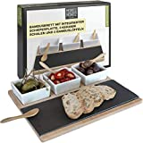 Moritz & Moritz Slate Serving Platters Set - Bamboo Tray with White Ceramic Bowls and Spoons - for Dips Snacks and Starters