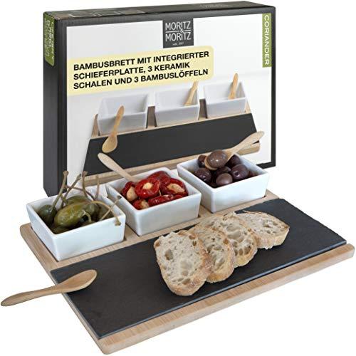 Moritz & Moritz Servierplatte mit Snack und Dipschalen 28 x 23 cm - Bambusplatte Serviertablett mit Keramik Schüssel Bambuslöffel - Für Vorspeisen Dips und Snacks