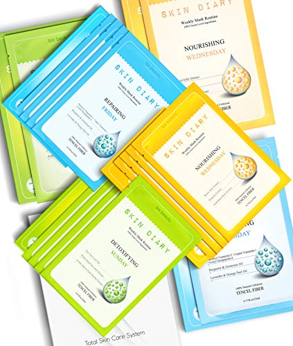 Bix Beauty [12 Pack] Skin Diary Deep Skin Hydration Natural Collagen Essence Sheet Mask Set | Authentic Korean Full Face Mask Facial Care Solution