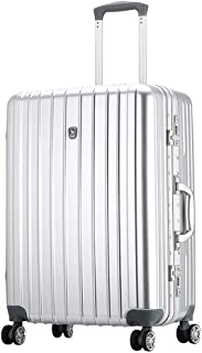 WHPSTZ Travel Suitcase Trolley Universal Wheel Business Boarding Passcode Box Aluminum Frame Business Suitcase Waterproof Seal Trolley case (Color : Silver, Size : 24 inch(45x27x61cm))
