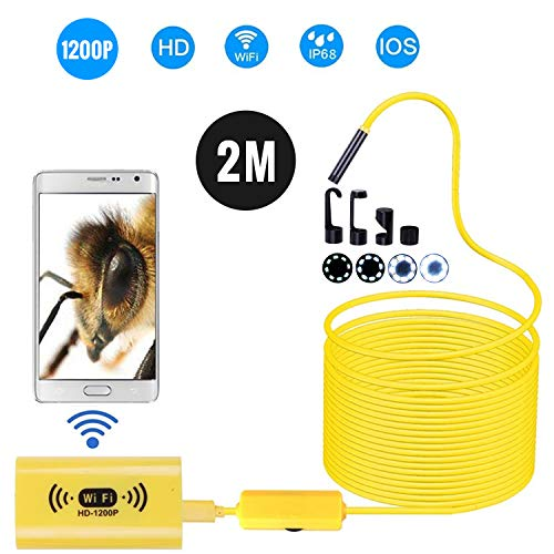 8mm draadloze endoscoopcamera IP68 waterdichte wifi-inspectie 2.0MP HD 8 LED semi-rigid kabel borescoop voor iPhones iPads Android-apparaten en PC geel 10M 2M geel