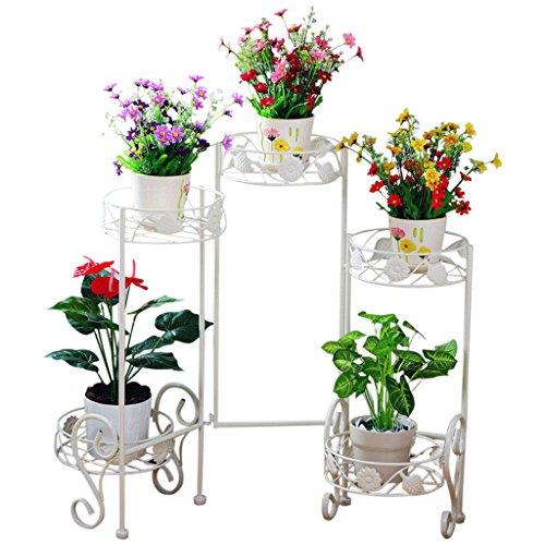 HZS De Style européen à Plusieurs étages Fer forgé intérieur Blanc Bonsaï Fleur Pots étagère Balcon Fleur Rack