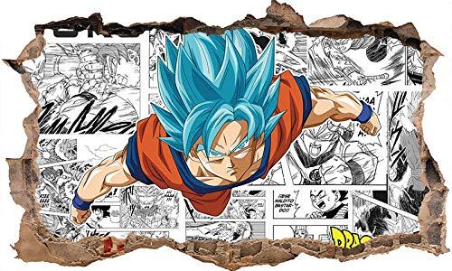 Nensuo 3D Dragon Ball Super - Poster - Goku Ultra Instinto Fondo de Pantalla Mural póster Pegatina de Pared Autoadhesivo Impermeable Vinilo PVC Pegatina de Pared-E_80*120CM