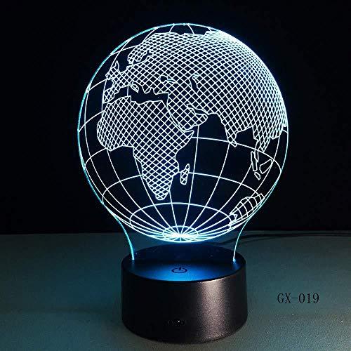 3D Visual Europe Map Globe Nachtlampje 7 Gradiente de Color Escritorio Lámpara de mesa Lámpara de Noche Niño Niños Cumpleaños Regalos de Navidad