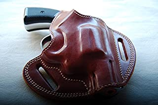 cal38 Handcrafted Leather Belt Holster for colt,Smith Wesson 38 Special Snub Nose (R.H) Tan Black
