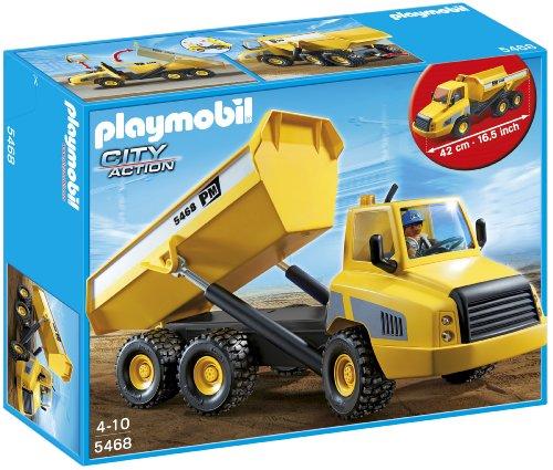 Playmobil Construcción - Camión contenedor, Juguete Educativo, Negro, Gris, Amarillo, 45 x 12,5 x 35 cm, (5468)