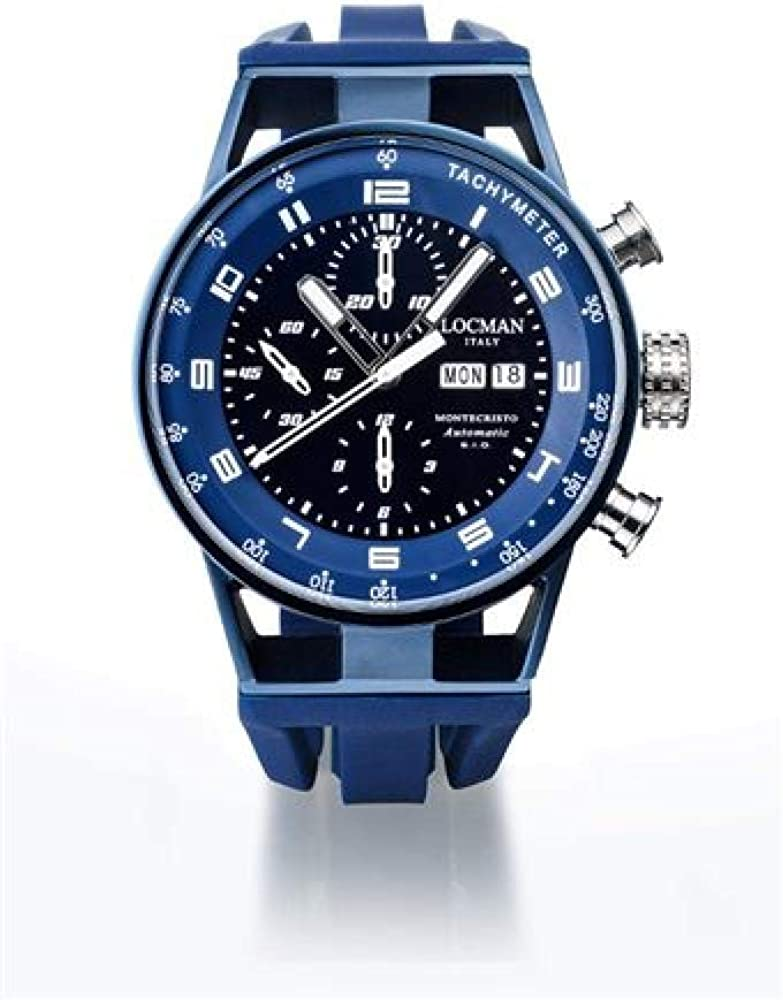 Locman italia montechristo, Automatic Chrono, orologio per uomo, in titanio e acciaio, cinturino in silicone 0516A01S-00BKBLSK