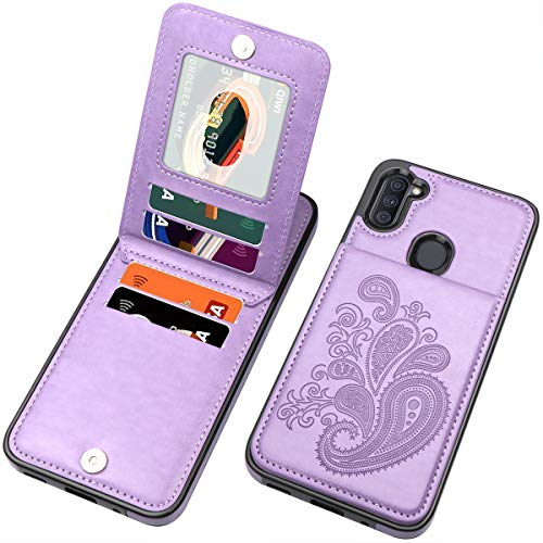 SIZIYNan Flip Case for Samsung A11 Case, Embossed Flower Series Premium PU Leather Galaxy A11 case for Women with Wallet Credit Card Holders Slim A11 Phone Case for Samsung Galaxy A11, Purple