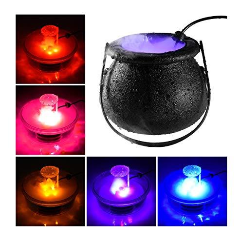 CMrtew Halloween Witch Cauldron Fog Maker with 12 LED Lights, Halloween Party Mist Maker, Water Fountain Fog Machine, Halloween Indoor/Outdoor Decoration Lights (Black)