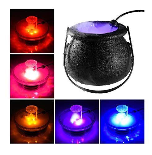 CMrtew Halloween Witch Cauldron Fog Maker with 12 LED Lights, Halloween Party Mist Maker, Water Fountain Fog Machine, Halloween Indoor/Outdoor Decoration Lights (Black)
