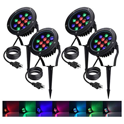 WeDo LED Landscape Lights 12W 110V RGB Color Changing Outdoor Spotlights Yard Patio Trees with Spike Stand (US Plug), 4 Pack