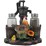 Farm Chicken and Old Fashioned Water Pump Glass Salt and Pepper Shaker Set with Holder Figurine in Country Kitchen Rooster Decor, Sculptures and Statues and Rustic Gifts for Farmers