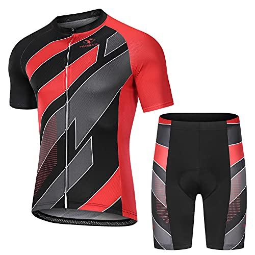 TOMSHOO Abbigliamento Ciclismo Uomo MTB, Completo Ciclismo Estive, Set di Maglie da Ciclismo, Maglia da Ciclismo a Manica Corta Traspirante e Pantaloni da Ciclismo con Cuscini Imbottiti 3D