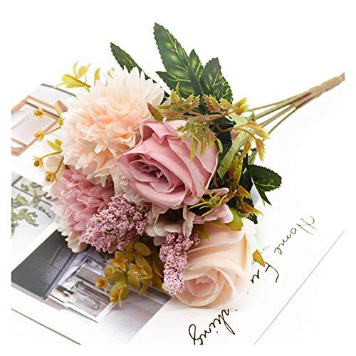 Taoyouzj Künstliche Blumen 1 Bündel Rose Chrysantheme Kombination Blumenstrauß Hohe Qualität Künstliche Blumen Wohnkultur Herbst Dekoration DIY Hochzeit Festival (Color : 2)