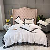 NBVCX Household Parts Duvet Cover SetBedding Double Sets Yellow Silk Bedding Sets King Size King Size Full Satin Silk Soft Silky 4 Piece Comforter Cover Set Adult Double Flat Sheet Navy White