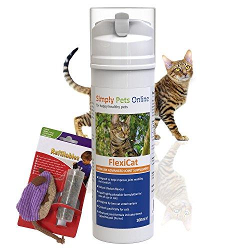 Simply Pets Online Grünlippmuschel Gel für Katzen - Flüssiges Gelenkpflegemittel Katze - Von Tierärzten entwickelt - Glucosamin, Omega3, natürliche Antioxidantien - 100ml - Plus Katzenspielzeug