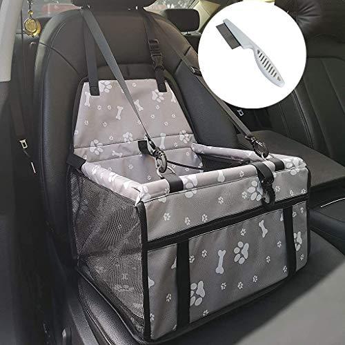 Asiento elevador de coche para mascotas, grande, gatos, perros, bolsa de transporte de viaje, impermeable, lavable, correa de seguridad plegable, con cremallera, bolsillo regalo (gris)