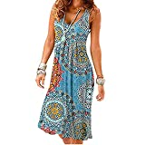 Summer Dress Women Sleeveless O-Neck New Casual Tank Dress Elegant Plus Size Vestidos,printing4,XL