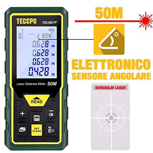 Telemetro Laser 50M, TECCPO Misuratore Laser Decorazione d'interni, Sensore Angolare Elettronico, m/in/ft/ft+in, Funzione Muto, 30 Gruppi Dati, Distanza, Area,Volume, Pythagore, Angolo, IP54- TDLM21P