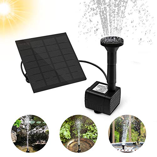 otumixx Solar Springbrunnen, Solar Teichpumpe Garten Wasserpumpe Solar Fontäne Pumpe mit 1,2W Monokristalline Solar Panel Brunnen für Gartenteich Vogel-Bad Fisch-Behälter Kleiner Teich