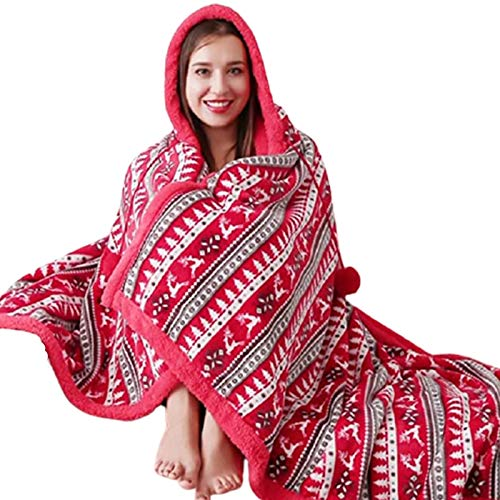 Shopylistic Hooded Snuggle Blanket Throw RED Super Soft Fleece With A Sherpa Reverse