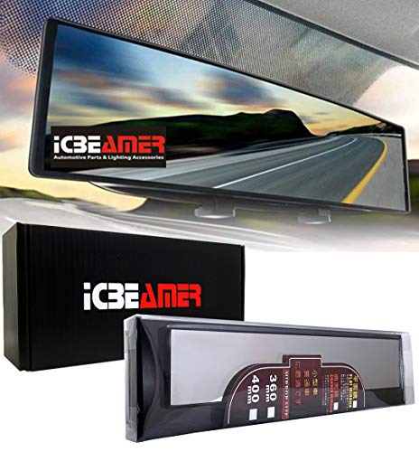 ICBEAMER Rear View Mirror 360mm Flat Surface Rearview Mirror Interior Clip on Wide Angle Reduce Blind Spot Effectively