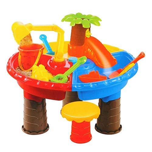 Sand und Wassertisch, Strand Spielzeug Set Tisch für Kinder, Kinder Kunststoff Pit Wasser Spielzeug, Sommer Sanduhr Play Graben Eimer - Klein Baum Rund