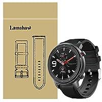 Lamshaw Amazfit GTR 42mm バンド, シリコン + レザー 本革 高耐久性 交換バンド ベルト 対応 Amazfit GTR 47mm / Amazfit GTR 42mm スマートウォッチ (42mm, ブラック)