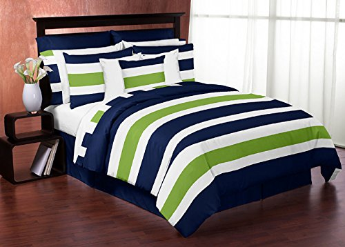 Navy Blue Lime Green and White Childrens, Kids, Teen 3 Piece Full/Queen Boys Stripe Bedding Set Collection