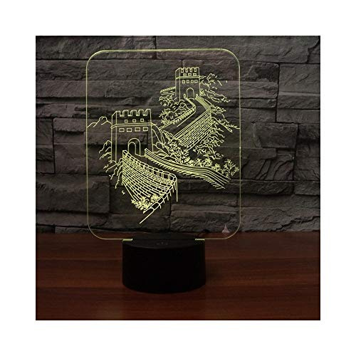 Illusion LED Great Wall Night Light, Mini lampe de table Touch Touch à distance pour enfants cadeau d'anniversaire chambre Art déco sculpture lumière, 7 changements de couleur