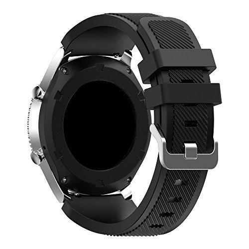 PINHEN Armband Kompatibel mit Galaxy Watch 46mm - 22mm Watch Straps Silikon Uhrenarmband mit Schnellverschluss für Gear S3 Frontier/S3 Classic/Galaxy Watch 3 45mm/Huawei Watch GT 2 46mm (Black)