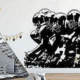 hetingyue Joueurs de Football Ligne Sticker Chambre Garçon Chambre Rugby Joueur Sport Vinyle Athlète Sticker Mural Salle De Jeux 45x47cm