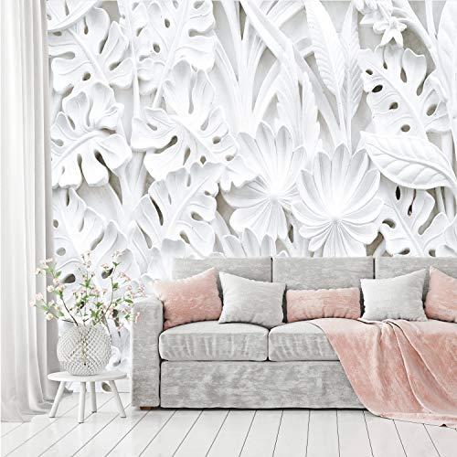 murimage Papel Pintado Flores 3D 366 x 254 cm incluye pegamento Florales Plantas Blanco Estuco Dormitorio Fotomurales Salon Pared
