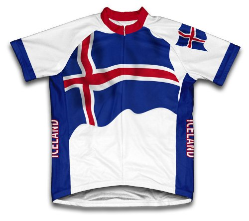 ScudoPro Iceland Flag Short Sleeve Cycling Jersey for Women - Size L White
