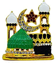Satisfactory Nation Mecca Madina 7CM Gold Plated Idol Statue Decorative Showpiece Gift Item for Car Dashboard Home Decor Office Showpiece AAA Quality