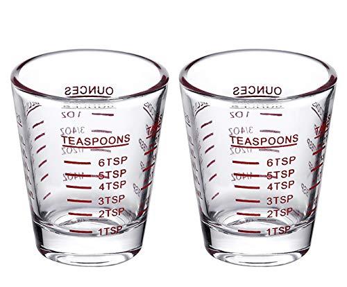 Shot Glasses Measuring cup Espresso Shot Glass Liquid Heavy Glass Wine Glass 2 Pack 26-Incremental Measurement 1oz, 6 Tsp, 2 Tbs, 30ml (2 pack-red)