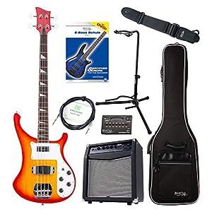 Rocktile Pro RB-400R Redneck E-Bass Super Set – 4-Saiter Longscale E-Bass – Inklusive Amp, Gigbag, Tuner, Gurt, Ständer, Kabel und Schule – Sunburst