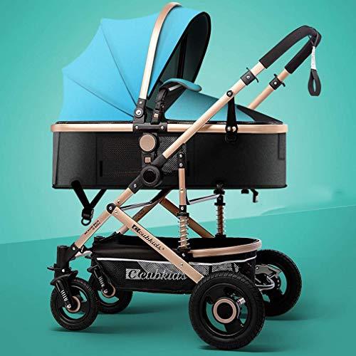 SGSG Kinderwagen mit hoher Landschaft, Leichter und Faltbarer 3-in-1-Kinderwagen, Zweiwege-Kinderwagen für Neugeborene und Kleinkinder, Gummiräder, komfortabler und großer Raum