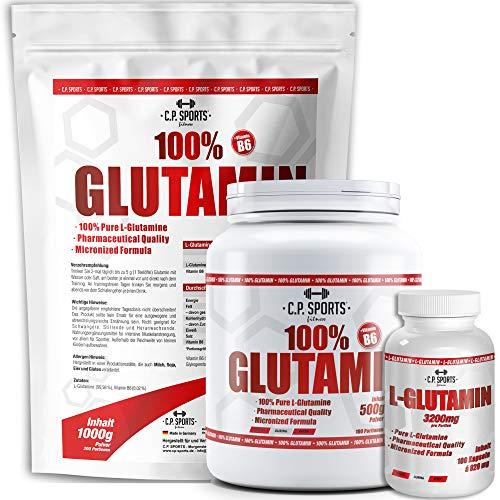 100% glutamine C.P. sporten, poeder, veganistisch, poeder, hooggedoseerd, puur, puur. 100 Caps